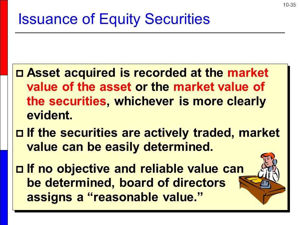 10-35 Issuance of Equity Securities  Asset acquired is recorded at the market value of the asset or the market value of the securities, whichever is