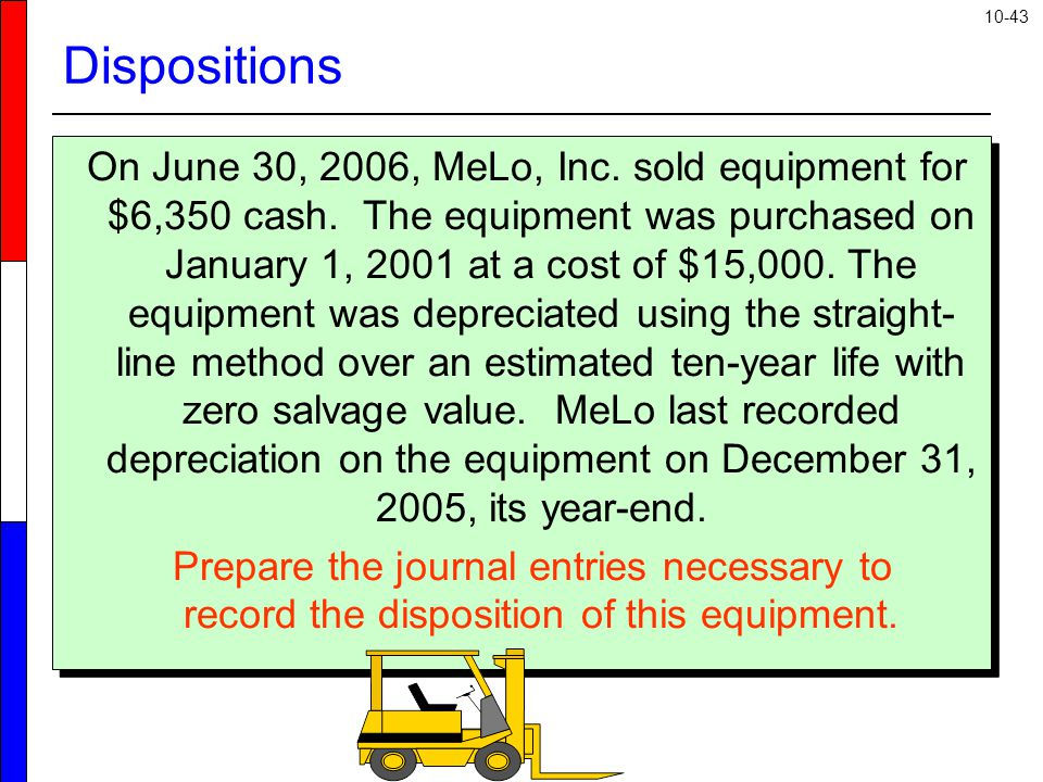 10-43 On June 30, 2006, MeLo, Inc. sold equipment for $6,350 cash.