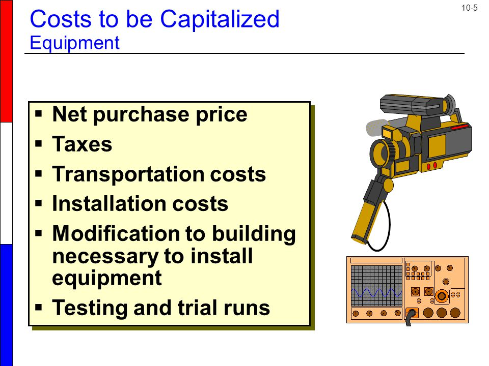10-5  Net purchase price  Taxes  Transportation costs  Installation costs  Modification to building necessary to install equipment  Testing and