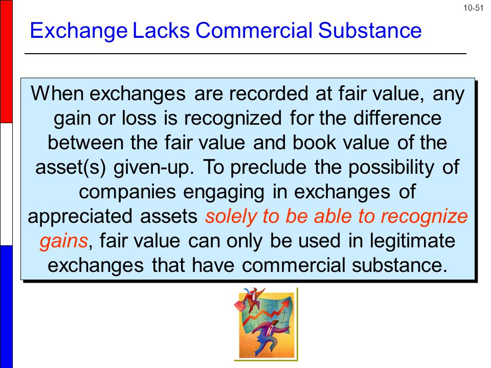 10-51 Exchange Lacks Commercial Substance When exchanges are recorded at fair value, any gain or loss is recognized for the difference between the fai