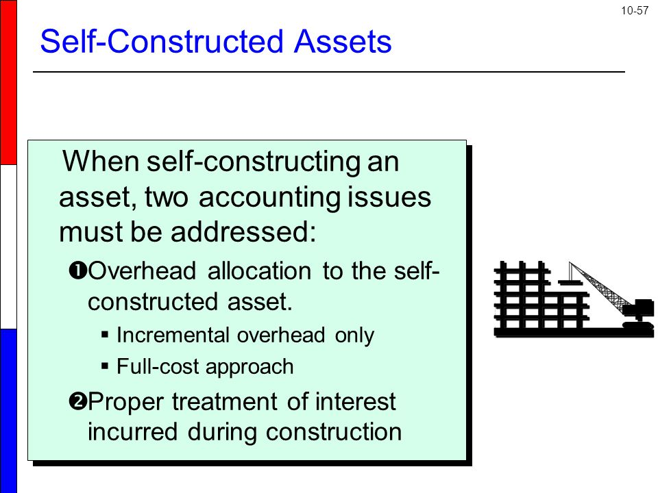 10-57 Self-Constructed Assets When self-constructing an asset, two accounting issues must be addressed:  Overhead allocation to the self- constructed