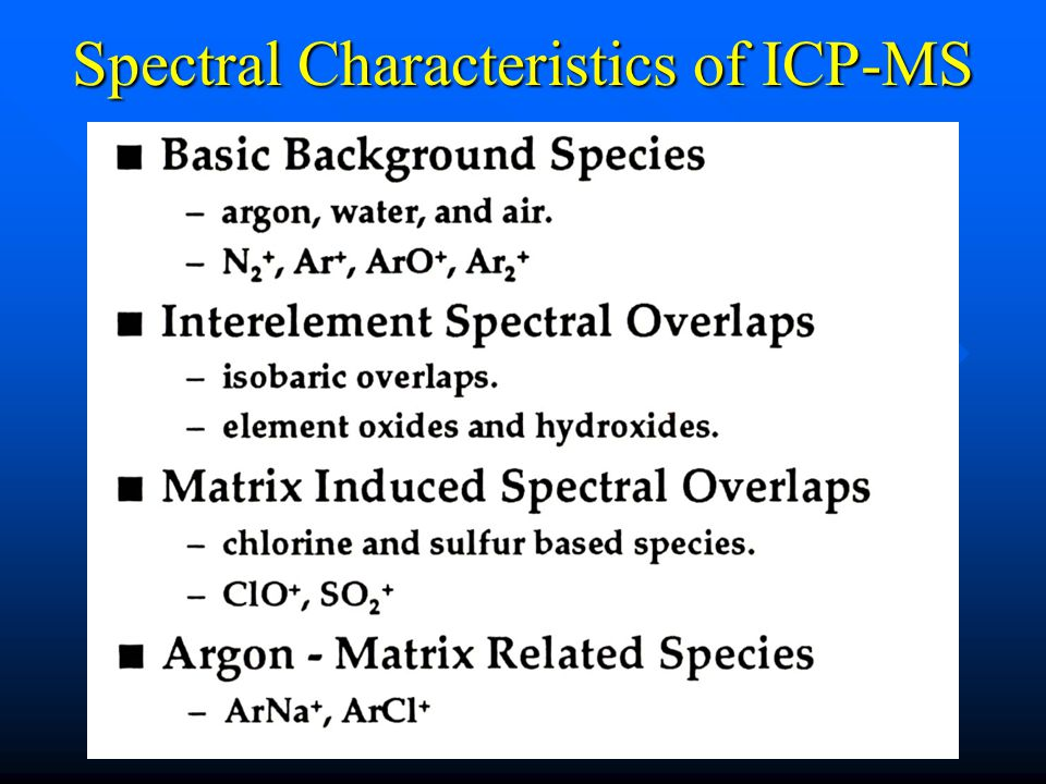 Spectral Characteristics of ICP-MS