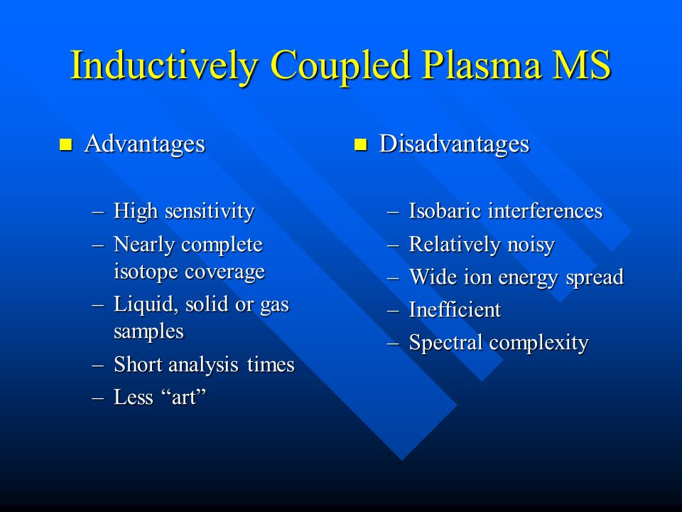 Inductively Coupled Plasma MS Advantages Advantages –High sensitivity –Nearly complete isotope coverage –Liquid, solid or gas samples –Short analysis times –Less art Disadvantages –Isobaric interferences –Relatively noisy –Wide ion energy spread –Inefficient –Spectral complexity