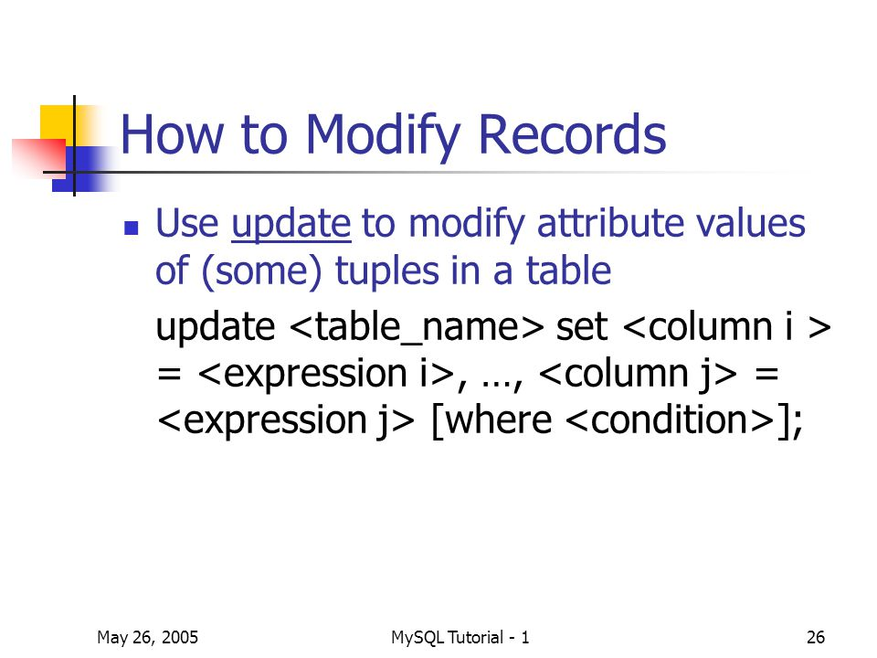 May 26, 2005MySQL Tutorial - 126 How to Modify Records Use update to modify attribute values of (some) tuples in a table update set =, …, = [where ];
