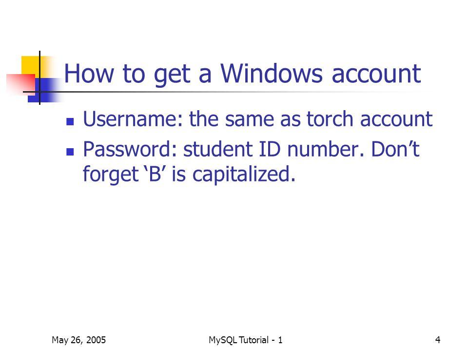 May 26, 2005MySQL Tutorial - 125 Example On Slide 17 select empno from employee2; select empno from employee2 where salary >=50 and salary < 150; select * from employee2, employer; select id, empno from employer m, employee2 n where m.employee_no = n.empno;