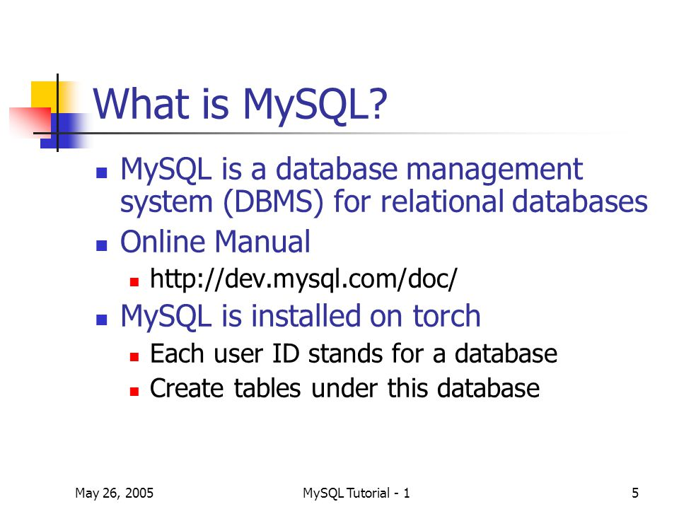 May 26, 2005MySQL Tutorial - 136 Appendix: MySQL Control Center Graphical user interface (GUI) to the MySQL database server Supports interactive use, including syntax highlighting and tab completion Download from http://dev.mysql.com/downloads/other/my sqlcc.html