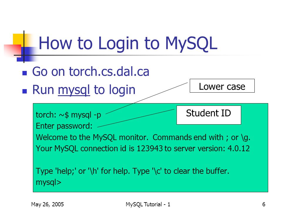 May 26, 2005MySQL Tutorial - 117 The Syntax of a Foreign Key Constraint Definition [CONSTRAINT [symbol]] FOREIGN KEY (index_col_name,...) REFERENCES table_name (index_col_name,...) [ON DELETE {CASCADE | SET NULL | NO ACTION | RESTRICT}] [ON UPDATE {CASCADE | SET NULL | NO ACTION | RESTRICT}] Both tables have to be InnoDB type InnoDB provides MySQL with a transaction-safe storage engine with commit, rollback, and crash recovery capabilities.