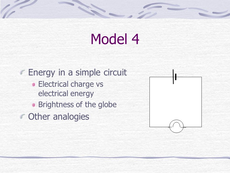 Model 4 Energy in a simple circuit Electrical charge vs electrical energy Brightness of the globe Other analogies