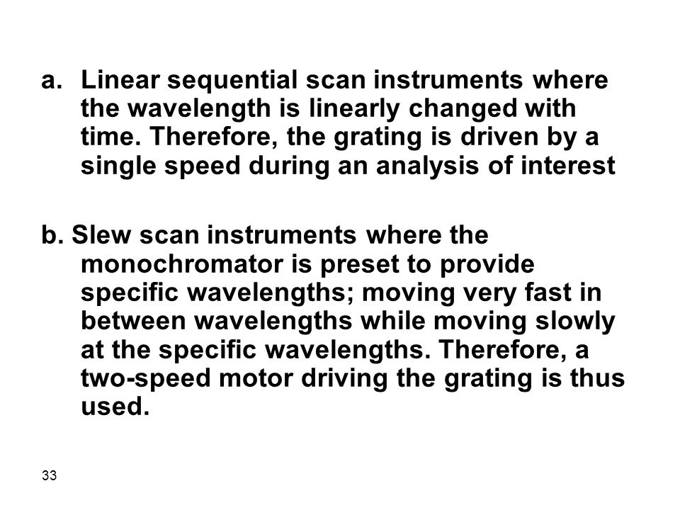 33 a.Linear sequential scan instruments where the wavelength is linearly changed with time. Therefore, the grating is driven by a single speed during