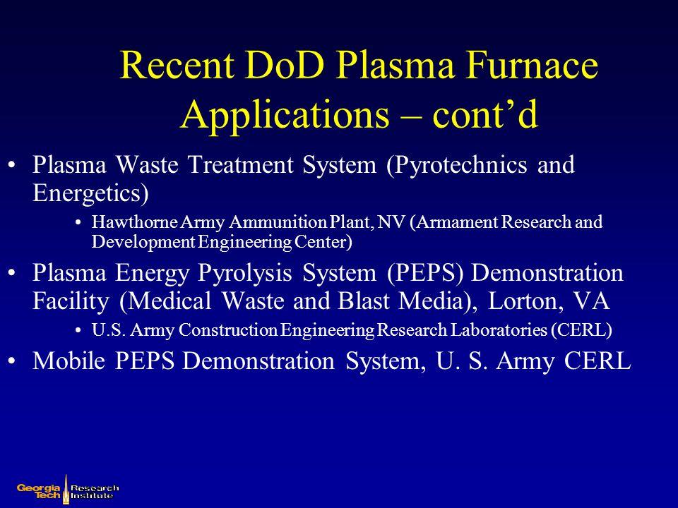 Recent DoD Plasma Furnace Applications – cont'd Plasma Waste Treatment System (Pyrotechnics and Energetics) Hawthorne Army Ammunition Plant, NV (Armam