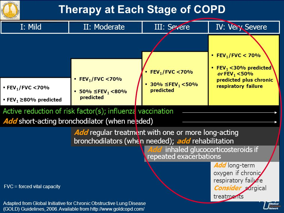IV: Very Severe III: Severe II: Moderate I: Mild Therapy at Each Stage of COPD  FEV 1 /FVC <70%  FEV 1 ≥80% predicted  FEV 1 /FVC <70%  50% ≤FEV 1 <80% predicted  FEV 1 /FVC <70%  30% ≤FEV 1 <50% predicted  FEV 1 /FVC < 70%  FEV 1 <30% predicted or FEV 1 <50% predicted plus chronic respiratory failure Add long-term oxygen if chronic respiratory failure Consider surgical treatments Add regular treatment with one or more long-acting bronchodilators (when needed); add rehabilitation Add inhaled glucocorticosteroids if repeated exacerbations Active reduction of risk factor(s); influenza vaccination Add short-acting bronchodilator (when needed) Adapted from Global Initiative for Chronic Obstructive Lung Disease (GOLD) Guidelines, 2006.