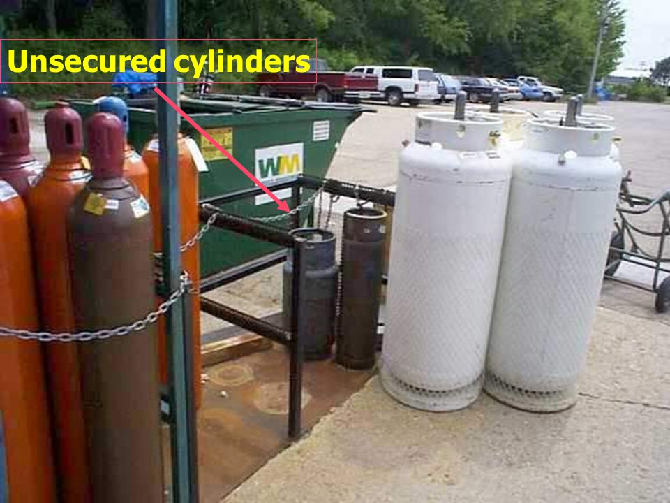 Acetylene Cylinder 1. 1.Unsecured acetylene cylinder 2. 2.Exposed to damage