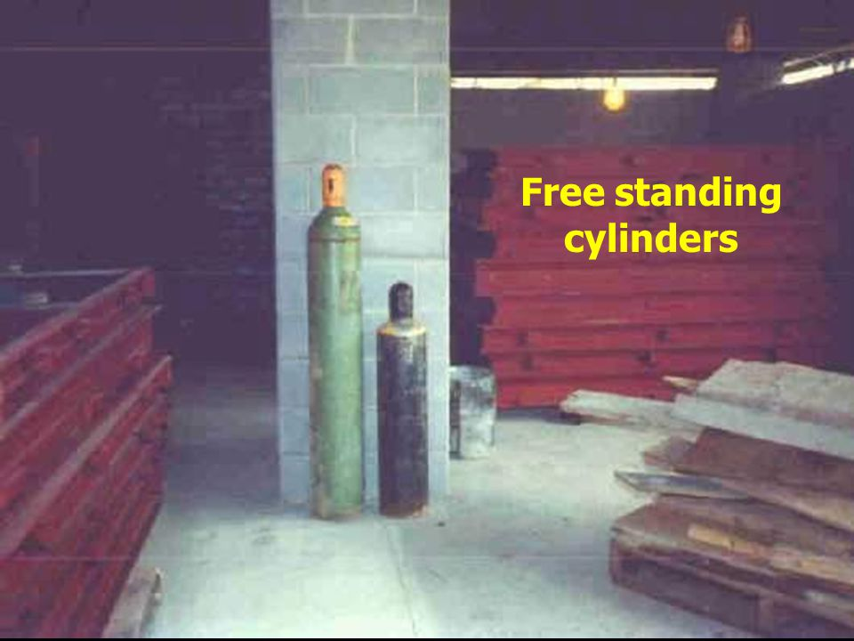 Free standing cylinders Exposed to damage from construction activities in area