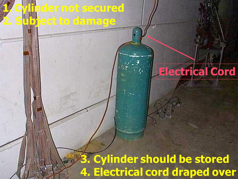 Cylinders are not protected from falling. Note that the Chain is not secured across Chain