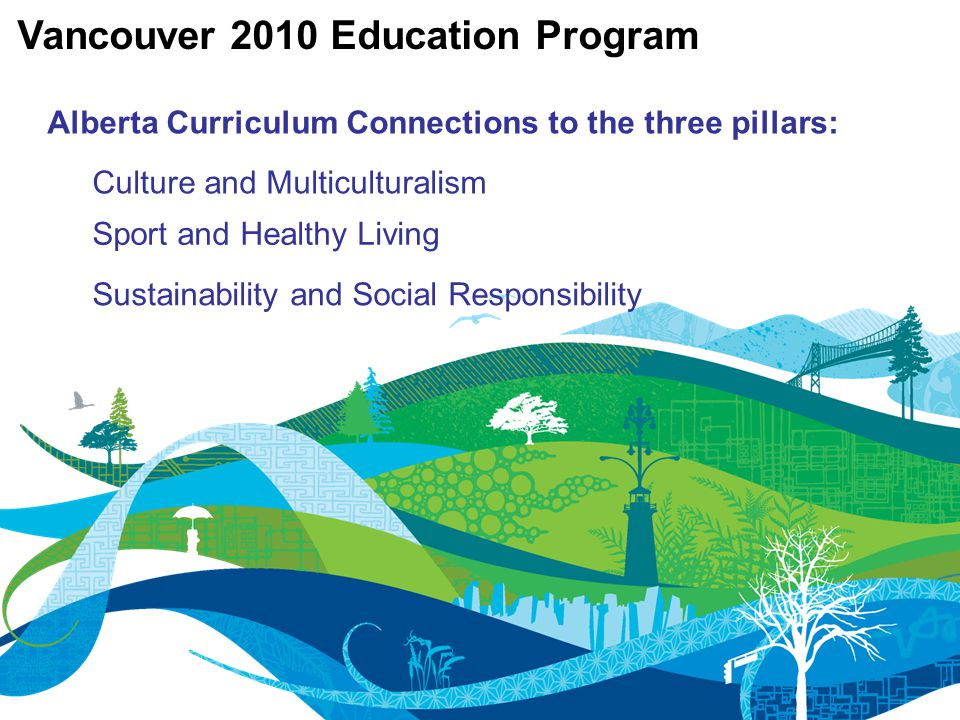 Alberta Curriculum Connections to the three pillars: Vancouver 2010 Education Program Culture and Multiculturalism Sport and Healthy Living Sustainability and Social Responsibility