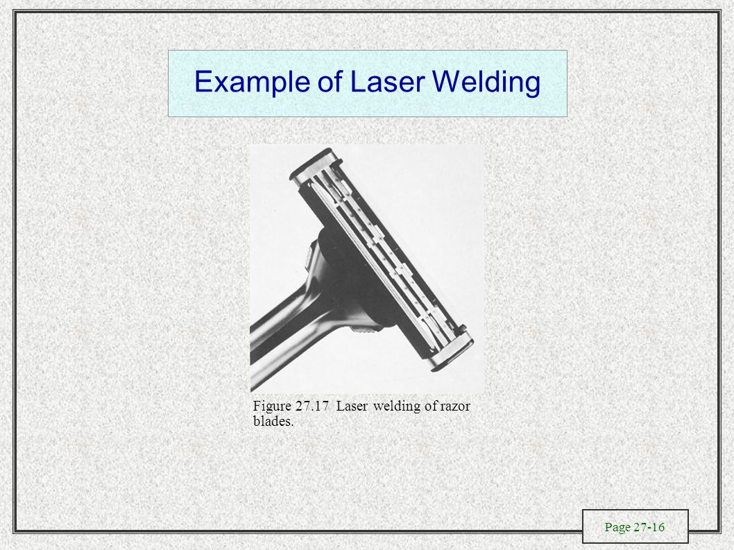Page 27-16 Example of Laser Welding Figure 27.17 Laser welding of razor blades.