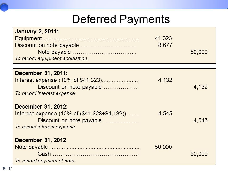 10 - 17 Deferred Payments January 2, 2011: Equipment........................................................... 41,323 Discount on note payable ….….……