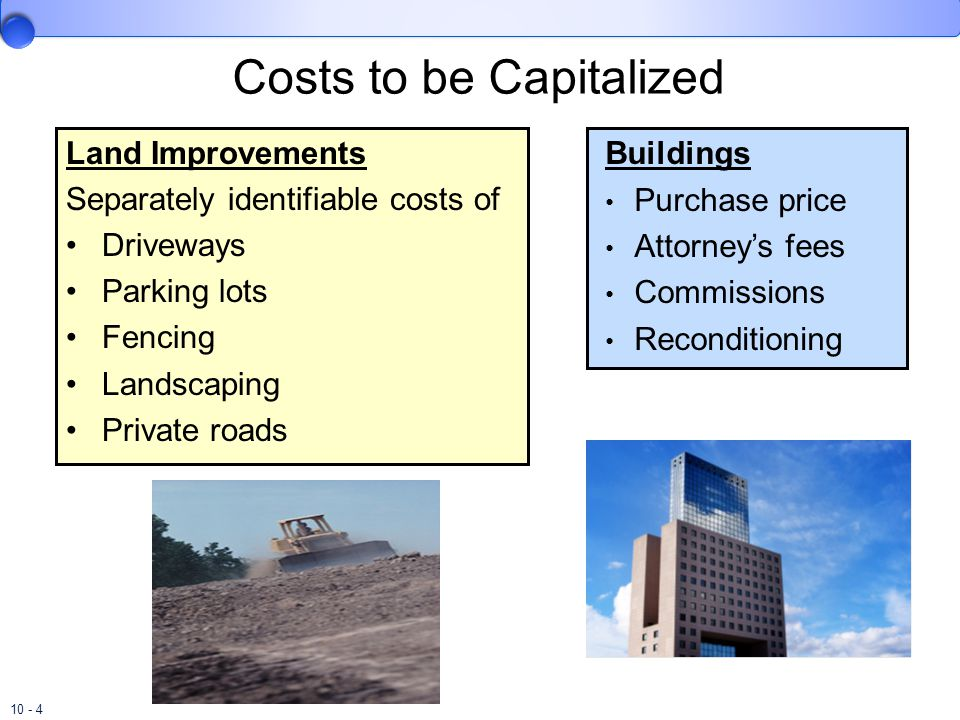 10 - 4 Land Improvements Separately identifiable costs of Driveways Parking lots Fencing Landscaping Private roads Buildings Purchase price Attorney's