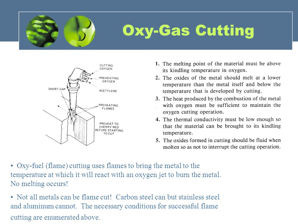 Oxy-fuel (flame) cutting uses flames to bring the metal to the temperature at which it will react with an oxygen jet to burn the metal.