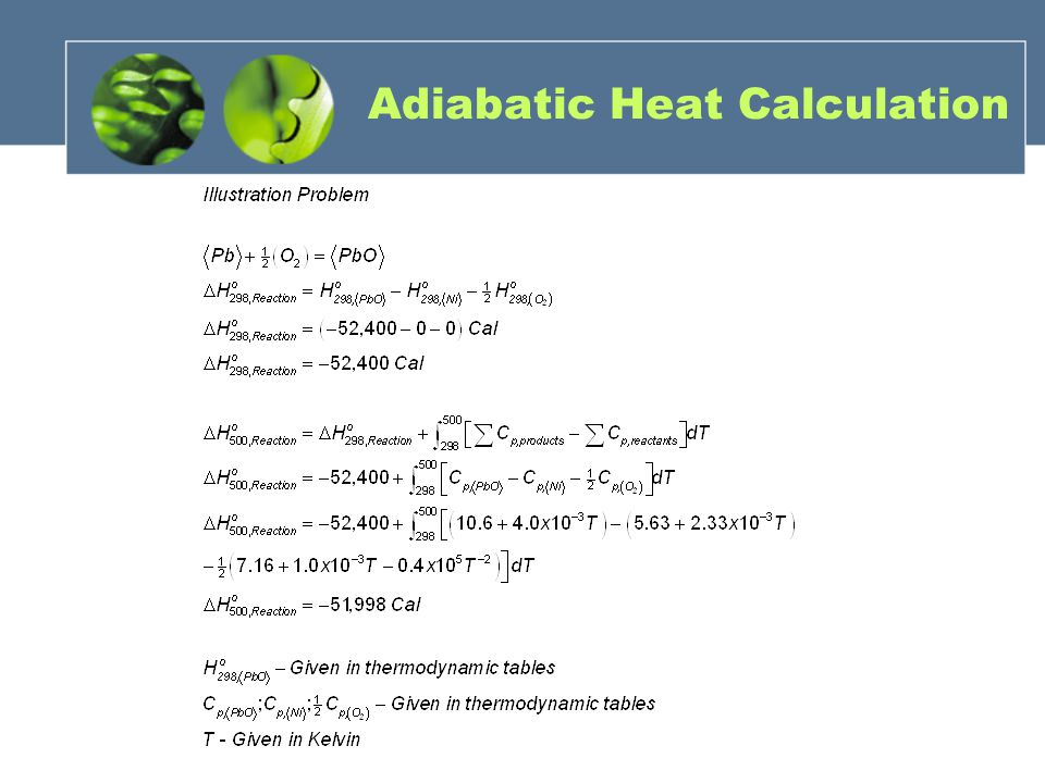 Adiabatic Heat Calculation