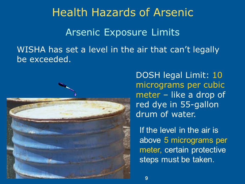 Health Hazards of Arsenic Arsenic Exposure Limits WISHA has set a level in the air that can't legally be exceeded.
