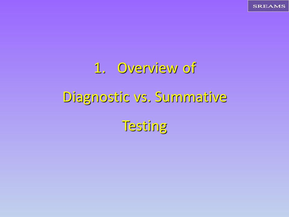 1.Overview of Diagnostic vs. Summative Testing
