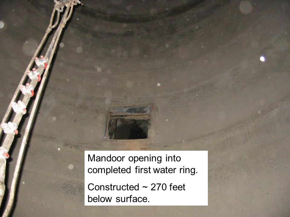 Discharge Pipe Panning Water Ring Infiltrating water collects behind panning Water ring gathers water running down the outside of panning and channels it into discharge pipe or borehole Purpose of Water Rings Installed to limit the damaging effect of ground water to the concrete shaft wall.