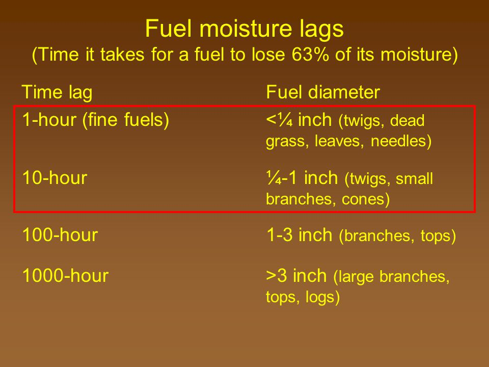 Fuel moisture lags (Time it takes for a fuel to lose 63% of its moisture) Time lagFuel diameter 1-hour (fine fuels)<¼ inch (twigs, dead grass, leaves, needles) 10-hour ¼-1 inch (twigs, small branches, cones) 100-hour 1-3 inch (branches, tops) 1000-hour >3 inch (large branches, tops, logs)