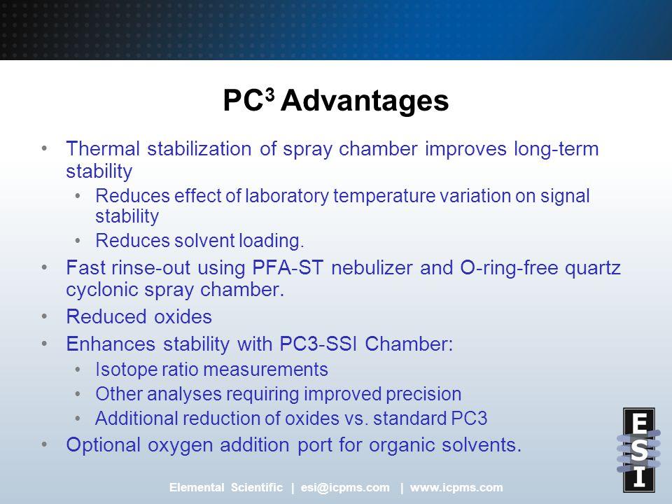 Elemental Scientific   esi@icpms.com   www.icpms.com PC 3 Features Default settings of spray chamber temperature (+2 C/ -5 C) for aqueous or organic solvents.