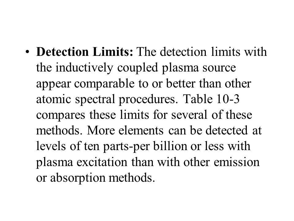 Detection Limits: The detection limits with the inductively coupled plasma source appear comparable to or better than other atomic spectral procedures.