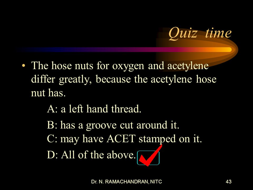 Dr.N. RAMACHANDRAN, NITC42 Quiz time The regulator diaphragm is often made from _______.