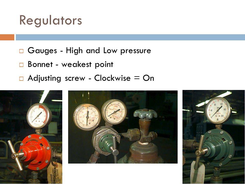 Regulators  Gauges - High and Low pressure  Bonnet - weakest point  Adjusting screw - Clockwise = On