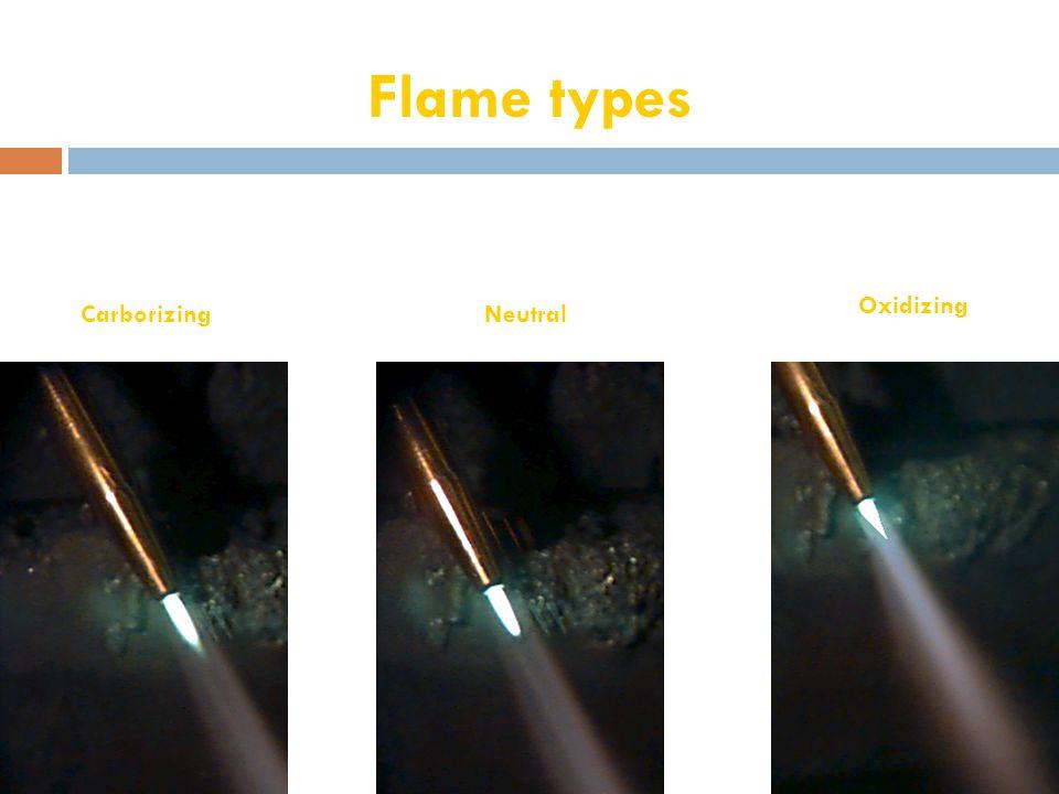 Flame types CarborizingNeutral Oxidizing