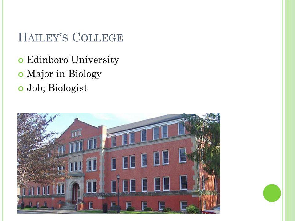 H AILEY ' S C OLLEGE Edinboro University Major in Biology Job; Biologist