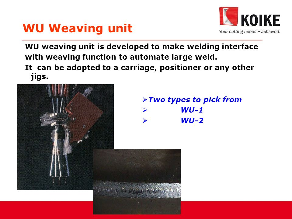 WU Weaving unit  Two types to pick from  WU-1  WU-2 WU weaving unit is developed to make welding interface with weaving function to automate large