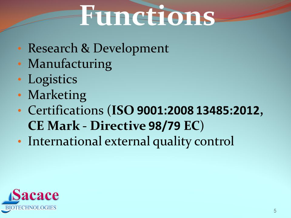 5 Functions Research & Development Manufacturing Logistics Marketing Certifications (ISO 9001:2008 13485:2012, CE Mark - Directive 98/79 EC) International external quality control