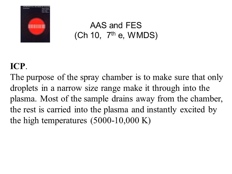 AAS and FES (Ch 10, 7 th e, WMDS) ICP. The purpose of the spray chamber is to make sure that only droplets in a narrow size range make it through into