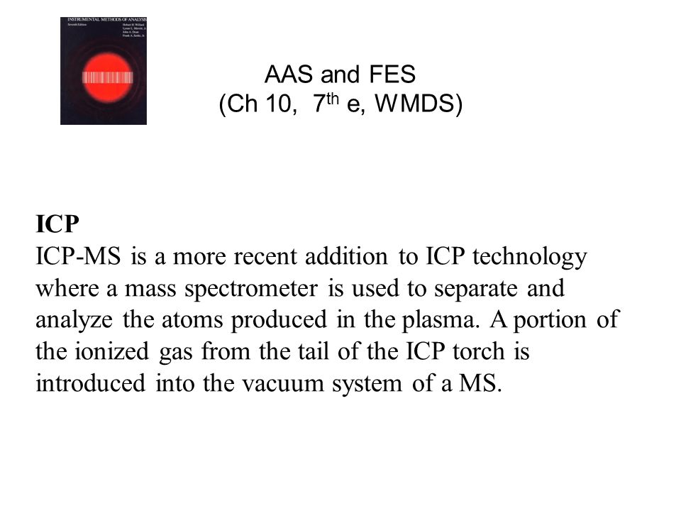 ICP ICP-MS is a more recent addition to ICP technology where a mass spectrometer is used to separate and analyze the atoms produced in the plasma. A p