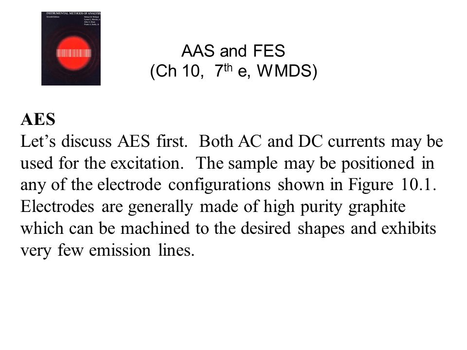 AAS and FES (Ch 10, 7 th e, WMDS) AES Let's discuss AES first. Both AC and DC currents may be used for the excitation. The sample may be positioned in