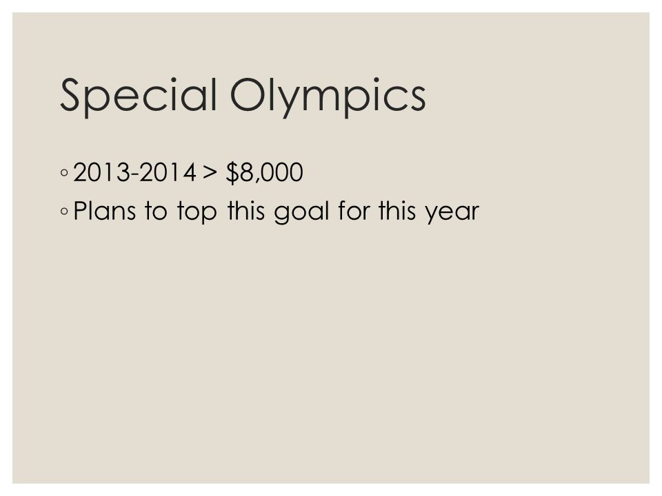 Special Olympics ◦ 2013-2014 > $8,000 ◦ Plans to top this goal for this year
