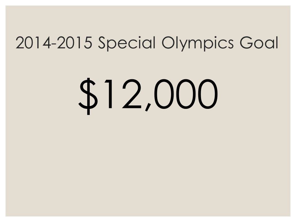 2014-2015 Special Olympics Goal $12,000
