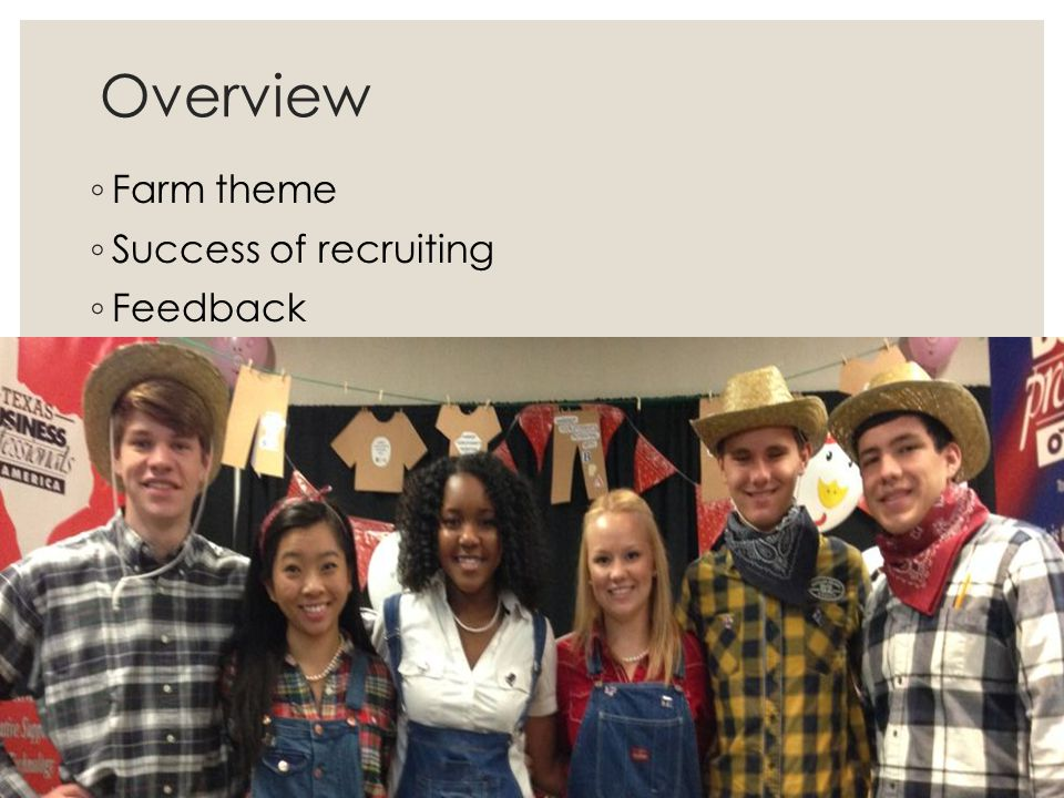 Overview ◦ Farm theme ◦ Success of recruiting ◦ Feedback