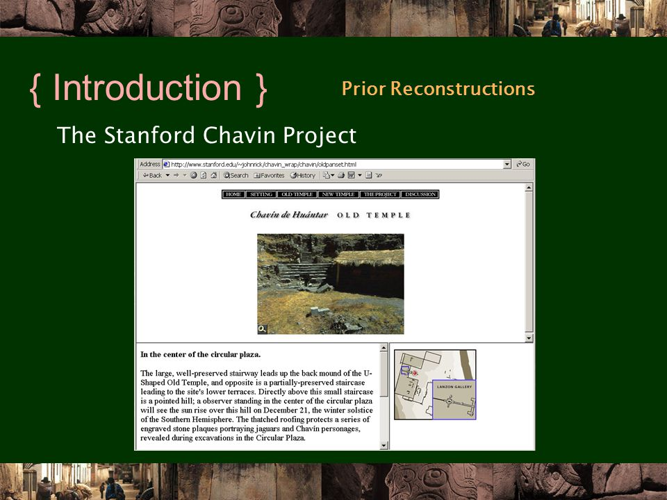 { Introduction } The Stanford Chavin Project Prior Reconstructions