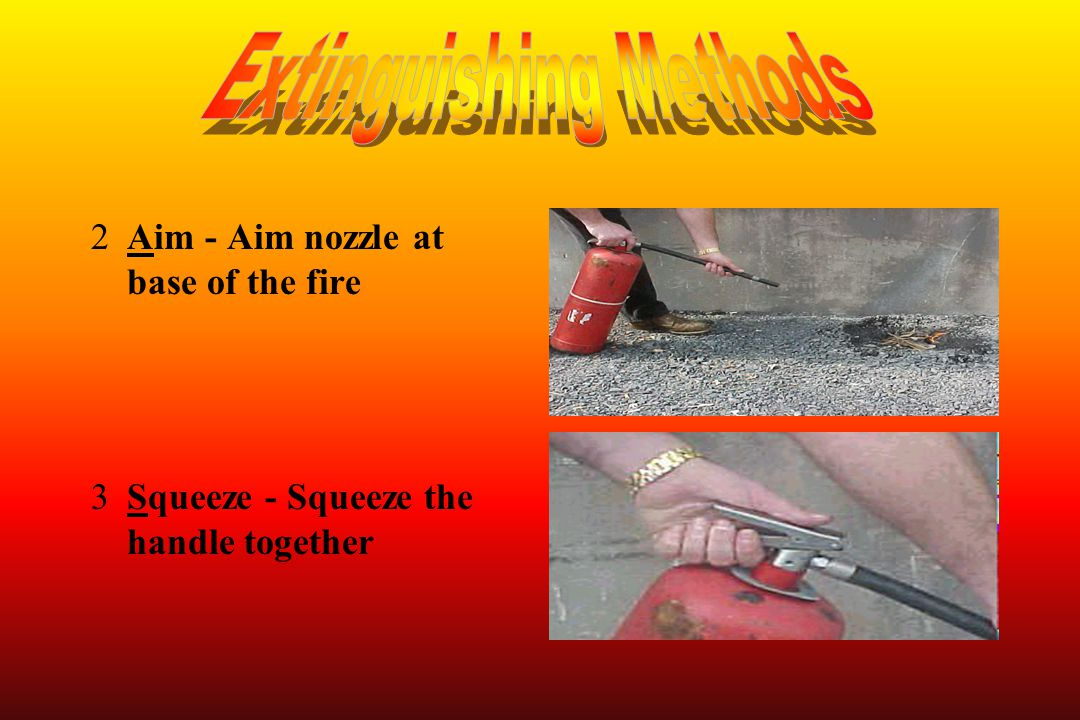 2Aim - Aim nozzle at base of the fire 3Squeeze - Squeeze the handle together