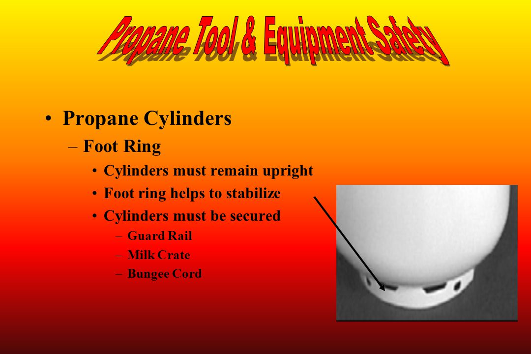 Propane Cylinders –Foot Ring Cylinders must remain upright Foot ring helps to stabilize Cylinders must be secured –Guard Rail –Milk Crate –Bungee Cord