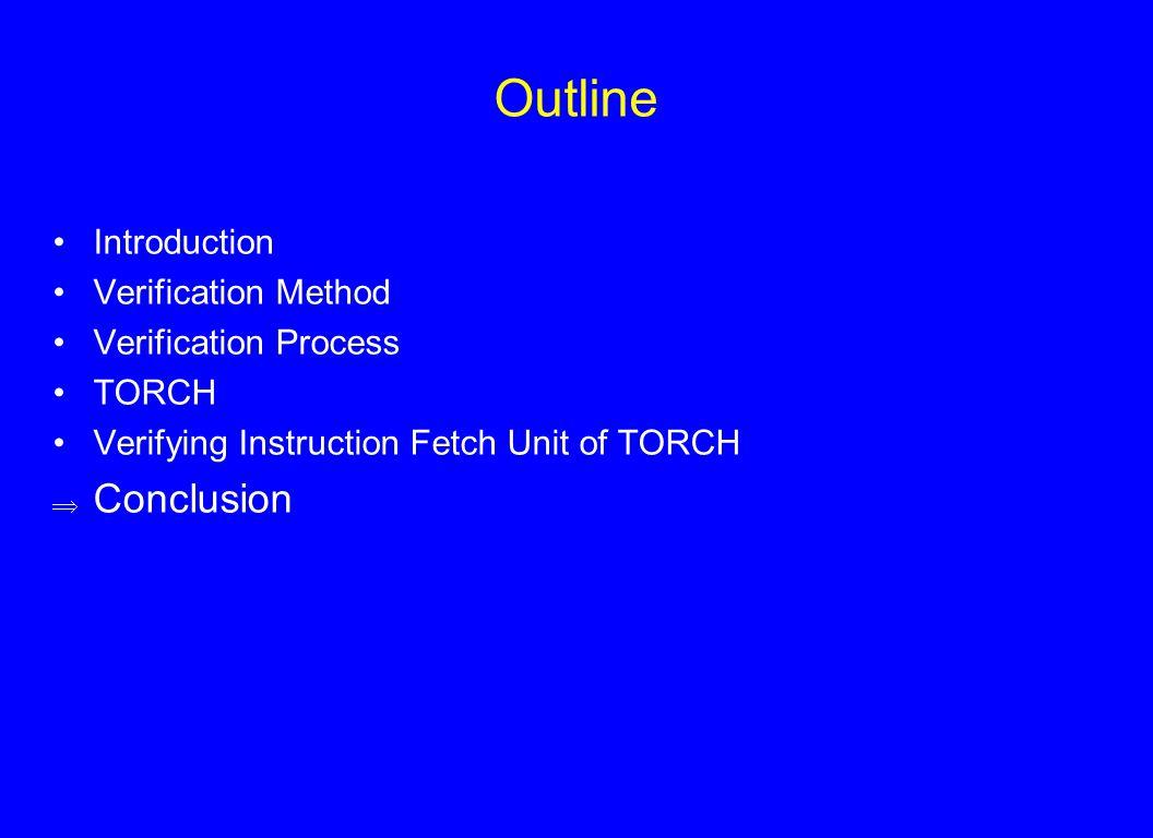 Outline Introduction Verification Method Verification Process TORCH Verifying Instruction Fetch Unit of TORCH  Conclusion