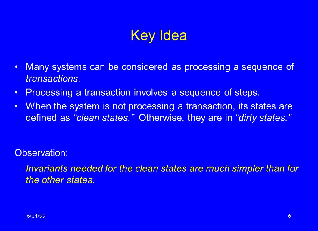 6/14/996 Key Idea Many systems can be considered as processing a sequence of transactions.