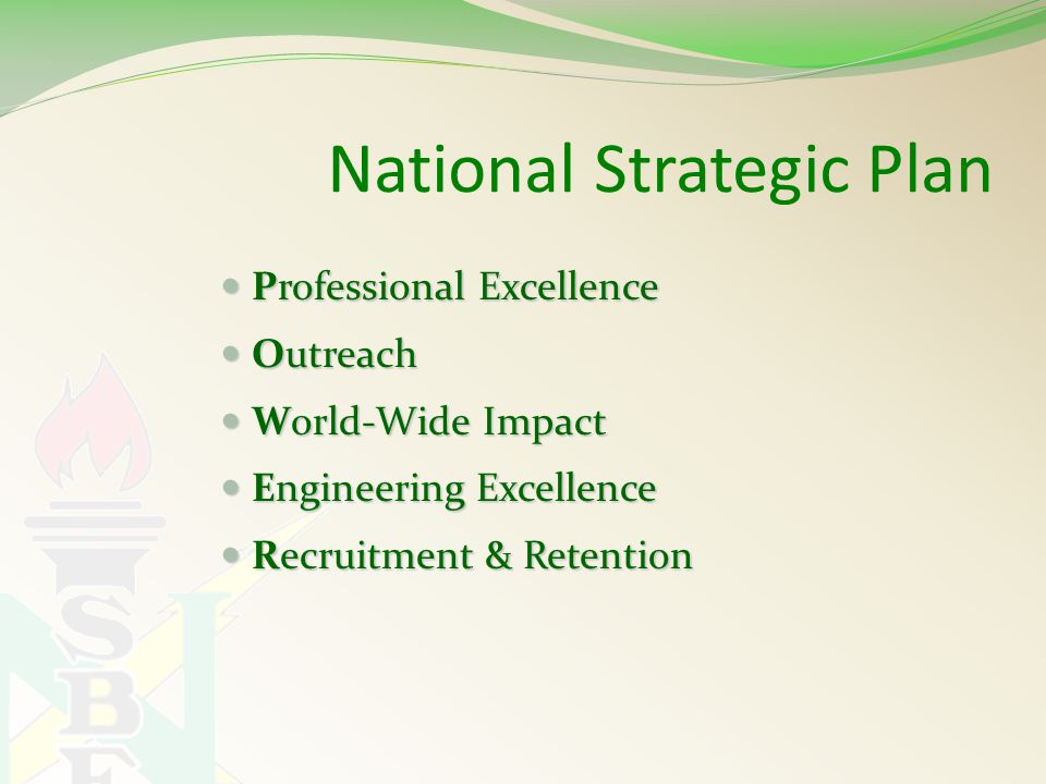 National Strategic Plan Professional Excellence Professional Excellence Outreach Outreach World-Wide Impact World-Wide Impact Engineering Excellence Engineering Excellence Recruitment & Retention Recruitment & Retention