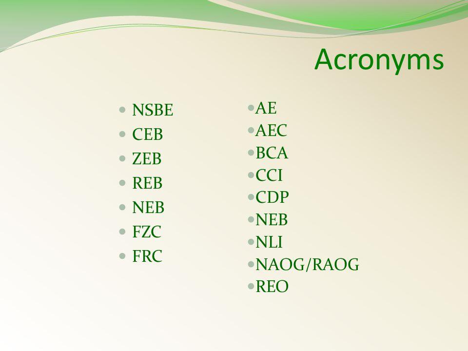 Acronyms NSBE CEB ZEB REB NEB FZC FRC AE AEC BCA CCI CDP NEB NLI NAOG/RAOG REO