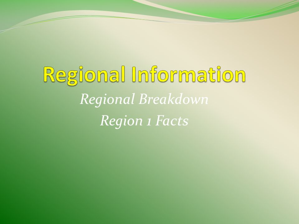 Regional Breakdown Region 1 Facts